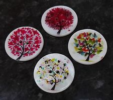 4 Large Pretty Tree Design White Shell Coat Buttons 30mm 3cm