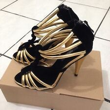 Zara Black & Gold Cage Sandals size US 6.5 EU 37
