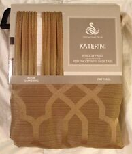 GOLD Lined Drapery Window Panel Curtain Rod Pocket Back Tabs KATERINI Darkening