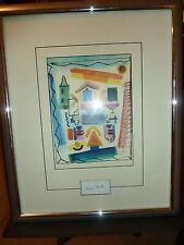 Clipped Signature and Colorful Abstract Print by Henry Miller - With Provenance