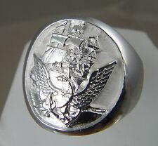 US Navy Official Navy Seal .925 sterling silver mens ring jewelry size 10. 5