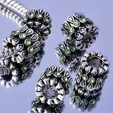 Handmade Crafts 5Pcs Green Rhinestone Tibetan Silver Charms Beads For Bracelet
