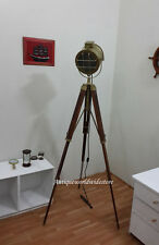 Hollywood  Marine Nautical Spotlight Decorative Floor Lamp Wooden Tripod brown