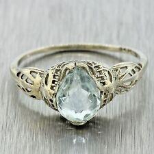 1930s Antique Art Deco Estate 14k Yellow Gold Aquamarine Filigree Ring