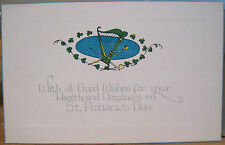 Irish Postcard GOOD WISHES Health Happiness ST PATRICK'S DAY Harp Shamrocks Ash