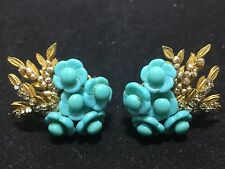 Superb Vintage Miriam Haskell Turquoise Art Glass Rhinestone Beaded Earrings