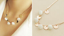 18K Gold Plated White Opal Inlaid Bohemian Style Ladies Necklace