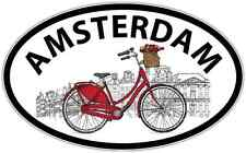 "Amsterdam City Netherlands Dutch Bike Oval Car Bumper Window Sticker Decal 6""X4"""
