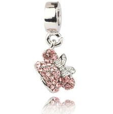 1PCS Silver Mouse Girl Bowknot pink Dangle Charm Bead For Bracelet #A486
