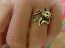 SOLID STERLING SILVER RING CAT SHAPED, HAND MADE BY ME. SIZE S- T