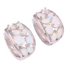 """Silver White Fire Opal for Women Jewelry Gift Gemstone Hoop Earrings 5/8"""" OH1551"""