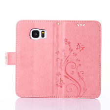 Fashion Butterfly Card Slot Leather Stand Wallet Case Cover For iphone Samsung