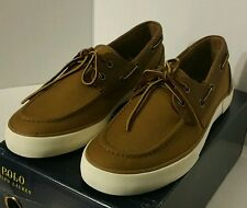 New Polo Ralph Lauren Rylander Mens Khaki Tan Boat Shoe Size 8.5