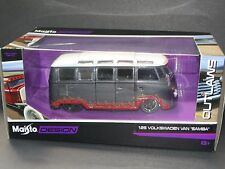Volkswagen VW Van Samba Gray Flames 1:25 Scale Diecast Maisto Outlaws Model Car