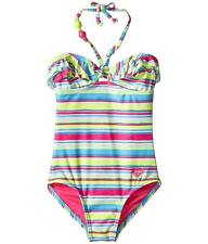Roxy Girls 7 1 Pc Swimsuit Island Tiles Pink Blue Stripe Ruffle Halter NWT