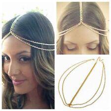 Women Fashion Metal Multi Chain Tassel Head Crown Headband Headpiece Hair Band