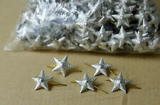 10 pcs Silver STAR Russian Soviet ARMY MILITARY Pin Badge for Shoulder EPAULET