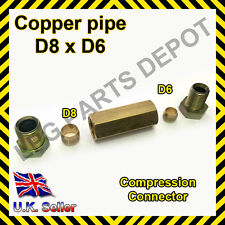 8x6mm Straight Compression Connector copper pipe Joint Coupling Gas Water Lpg