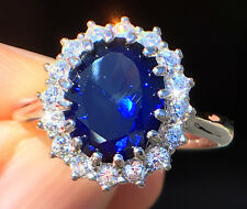 4 ct Stunning Sapphire RIng Swiss Corundum With Extra Brilliant Czs Size 7