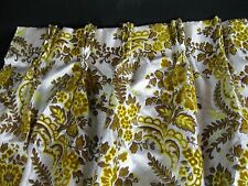 "VTG Drapes 2 Panels Gold/Creme Pinched Pleated Velvet Floral Retro 24""w x  63""L"