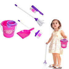 5Pcs Kids Play House Cleaning Mop Broom Bucket Brush Dustpan Set Kit Pretend Toy