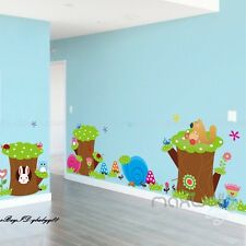 Forest Animal Tree Stump Wall Border Decals Removable Kids Baby Sticker Decor