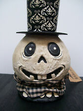 "NWT 10"" Black & White GHOST HEAD in Undertakers Top Hat Halloween Decoration"