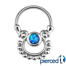 SEPTUM CLICKER TRIBAL BLUE OPAL NOSE EAR CARTILAGE TRAGUS BARBELL RING 16g