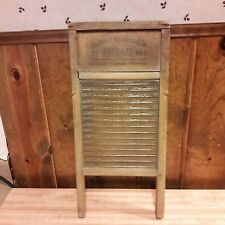 Vintage Primitive Looking Small Wood/ Glass Washboard From Old-Time Farm Auction