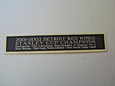 Detroit Red Wings 2001-2002 Stanley Cup Nameplate Hockey Stick Case 1.25 X 6