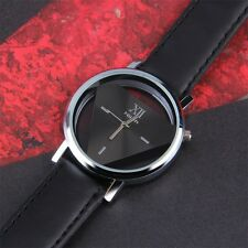 New Simple Black Dial Design Round Quartz Unisex PU Leather Wrist Watch EH