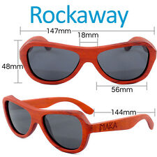 Red Rosewood Wood Sunglasses Rockaway Butterfly Polarized Wooden Aviator w/ Box