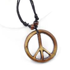 Halskette Collier Frieden Symbol Yak Knochen Art Geflochten Anhänger Halsschmuck