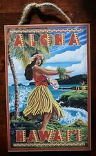 ALOHA HAWAII Hawaiian Hula Dancer Lei Palm Tree Ocean Beach Home Decor Sign NEW