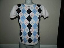 Burberry Women Pink Argyle Short Sleeve Sweater sz S