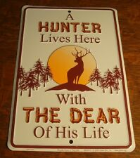 HUNTER LIVES HERE WITH THE DEAR OF LIFE Buck In Forest Hunting Decor Sign NEW