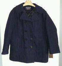 Trader Bay Quilted Heavyweight Wool Navy Pea Coat Jacket Mens size XLT 34603