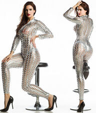 CELEBRITY STRETCH  SILVER SEXY PARTY JUMPSUIT UNIQUE STYLE XS-M SIZE