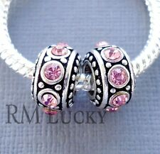 2 pcs Silver tone Crystal Pink Charms Large hole Beads Fit European Bracelet C76