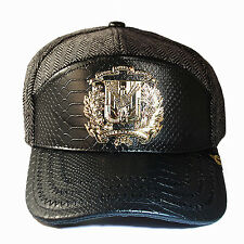 Dominican Republic Snapback Hat Black Snake Skin Leather Gold badge Wool Cap