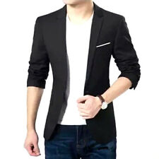 New Men's Casual Slim Fit Formal One Button Suit Blazer Coat Jacket Tops BLACK