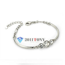 Silver Color 18K White Gold Plated Use Swarovski Crystal Bracelets Jewelry