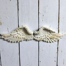 Pair Set Shabby Chic Vintage Style Angel Cherub WhiteWash Wings Wall Art Ornate
