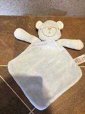 TESCO F&F BLUE BLANKIE TEDDY BEAR GINGHAM EARS BABY BLANKET SOOTHER COMFORTER