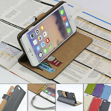 For Apple iPhone 6 6s Genuine Leather Wallet Case Card Holder Stand Flip Cover