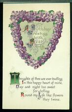 BIRTHDAY GREETING Thoughts of Thee are Ever Dwelling VIOLET HEART Postcard