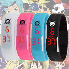 New Anime One Piece Skull Logo Sport Bracelet Watch LED Wrist Band Waterproof