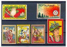 Vintage Japan Japanese China Chinese Hong Kong Asian 6 Matchbox Labels 1910s