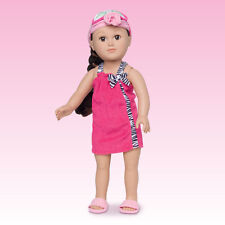"NEW My Life 18"" Doll PINK SPA SET Towel Wrap Mask Slippers American Girl Clothes"