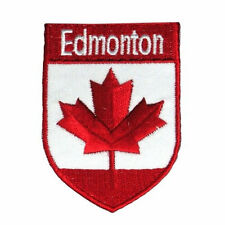 EDMONTON CANADA RED MAPLE LEAF SHIELD IRON-ON PATCH CREST BADGE .. NEW